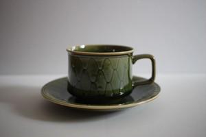 松岡賢司(平安楽堂)|カップ&ソーサー 網目 緑色