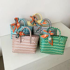 手編みかごバッグ | リゾート かご 小さいバッグ カラフル