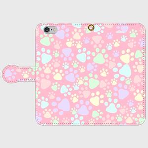 手帳型スマホケース(iPhone・Android対応) 【肉球柄ピンク】