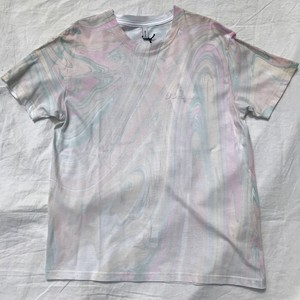 08sircus / Marble dye embroidery T-shirt / pink