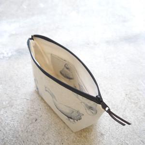 【ハンドメイド】舟型 ポーチ(アヒル柄)