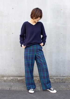 タータンチェック ワイドパンツ/ブルー No.98885059/95