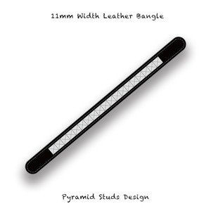 11mm Width Leather Bangle / Pyramid Studs Design