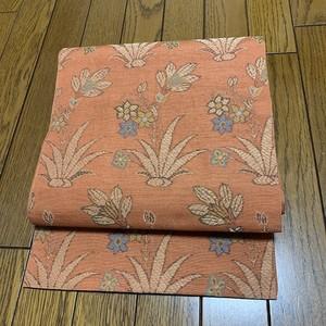 帯 正絹袋帯 紬地に草花