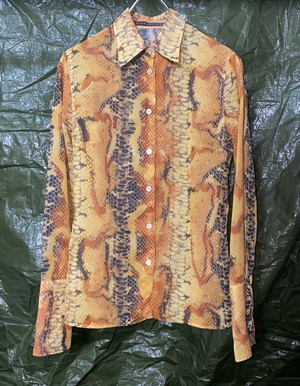 1990s JEAN COLONNA PYTHON SHEER SHIRT