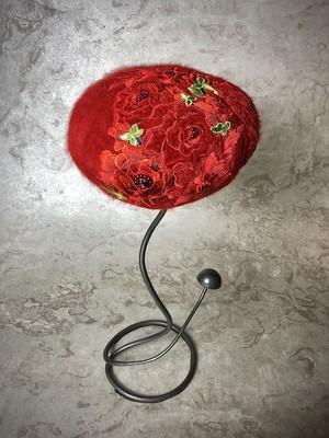 red flower beret angora  (レッドフラワー アンゴラ)1点もの