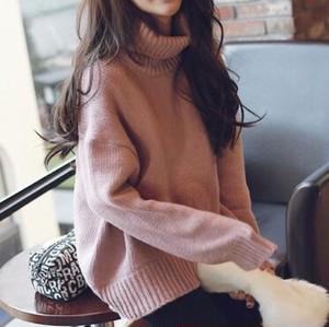 一部即納ハイネックセーター/トップス/アクリル/レディース/大きいサイズ ピンク