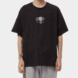 【HIPANDA】メンズ Tシャツ MEN'S SMALL 3 BROTHERS RHINESTONE SHORT SLEEVED T-SHIRT / BLACK
