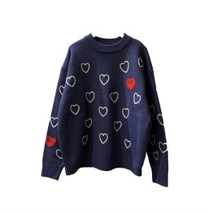 Heartfull Handembroy Knit <Navy> 【ChahChah】