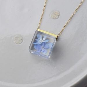紫陽花(あじさい)のネックレス 14kgf(星花火, アジサイ, レジン, 送料無料)