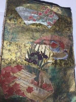 【MEDASHI】濃金地引箔 扇面に琳派文様 西陣帯地裂