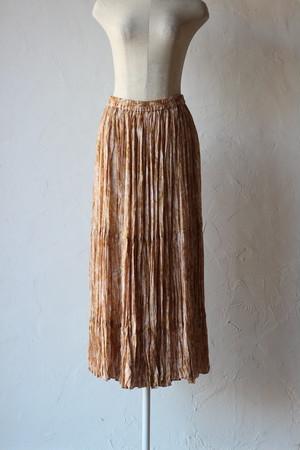 【Eicayoshinari】marble random pleated skirt-beige