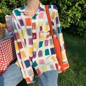 【トップス】オシャレ感たっぷりレトロカラーチェック柄カジュアルシャツ19998742