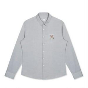 送料無料メンズ/ビジネスカジュアルにも○鹿&花&ロゴ刺繍/コットン長袖ワイシャツ