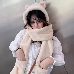 【小物】韓国風新作マフラーと帽子一体暖かいマフラー