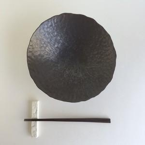 石目朝顔鉢 7寸 黒