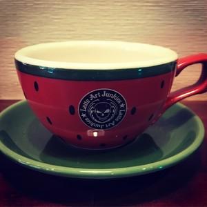 有田焼オリジナルカップ7oz西瓜柄ロゴ有り(送料込)