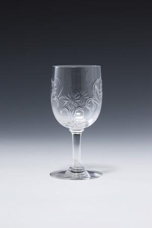 ㉓バカラ エングレイビング花文 シェリーグラス Engraved Flower pattern Sherry Glass