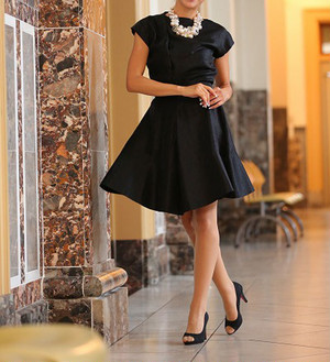 Flare Satin Little Black Dress