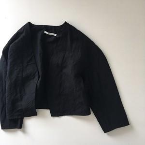 【 miho umezawa 】LINEN BAMBOO CLOTH off shoulder jacket (black)