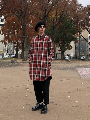 "【20003】HEAVY NEL CHECK SHIRT (LONG LENGTH) ""RED CHECK"""