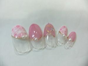 ピンクのナナメ丸フレンチとタイダイ(オーダーチップ)ジェル使用作品 ※1セット限定価格 (定型外発送込)