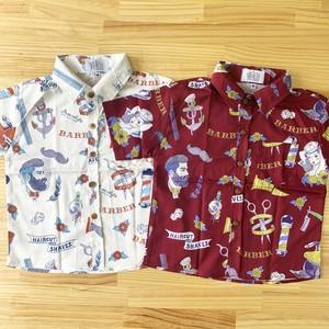 イロカライフオリジナル南国BARBER柄のキッズアロハシャツ