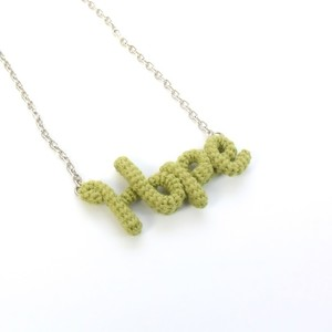 "Knitting Vanessa ""Hope"" ワードネックレス (lime green)"