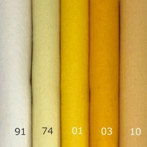 フェルト たまごイエロー 5色セット:100%ウールフェルト 20X30cm 1mm