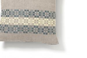 Aya Textile / ムンカベルテ 手織りのクッションカバー   ペールグリーン・イエロー
