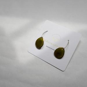 PEKI!RARIGON Wire Stone Earrings  Olive