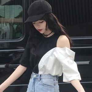 【トップス】韓国系半袖ラウンドネックプルオーバーTシャツ27011802