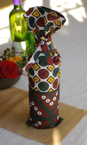 アフリカ布のカラフル ボトルカバー ワインバッグ <en> 【送料無料】