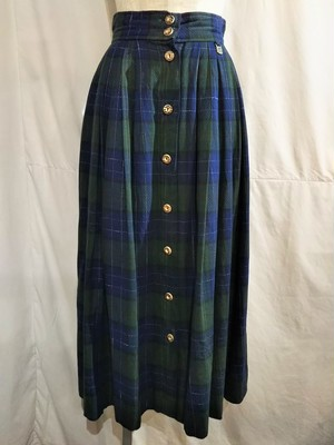 Vintage check pleats tyrolean skirt /Made In West Germany [O-457]