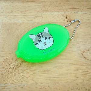 キジ白猫ちゃん ラバーコインケース(クリアグリーン・キミドリ)【チャリティー】