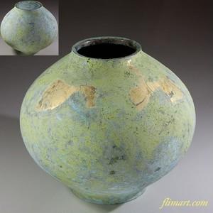 峰雲純金箔鋳銅花瓶W6161