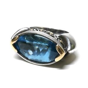 "Vintage ""JOHN HARDY"" Blue Topaz & Sterling Silver & 18k Gold Ring"