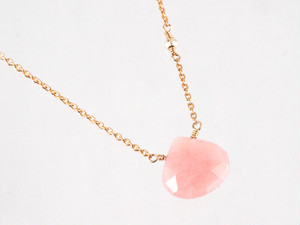 14KGF Pink Opal Mirror Necklace