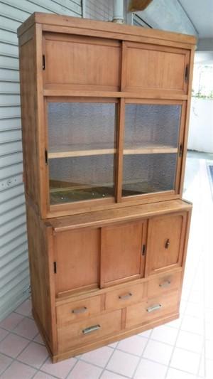 昭和の木製食器棚【分割式】(0830104D)