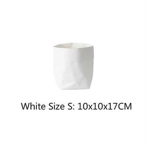 送料無料クラフトペーパーファブリック・バスケット 【ホワイト S size】収納