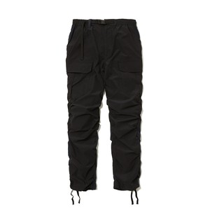 STRETCHED SHIRRING CARGO PANTS -BLACK