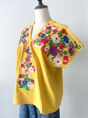 THAILAND 刺繍ブラウス_花_mustard