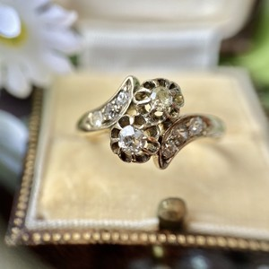 イギリス1899年★希少★オールドヨーロピアンカットが美し過ぎるダイヤモンド トワエモアリング❤︎
