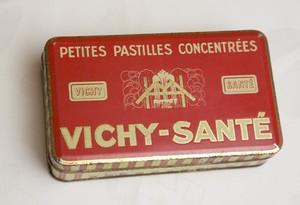 アンティークTin缶『 VICHY-SANTE』赤