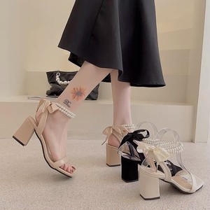 pearl ribbon shoes 3color
