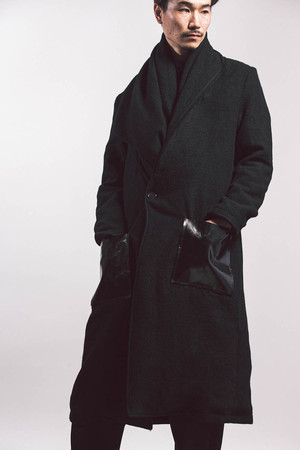20AW Wool big stole coat