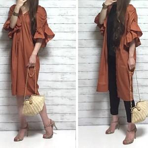 ギャザーフリル袖 3way ワンピース(orange)