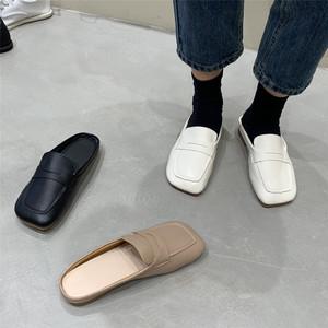 ローファーバブーシュサンダル スクエアトゥ かかとなし ローヒール 合皮 革 黒 ブラック 白 ホワイト アプリコットピンク 履きやすい 疲れにくい 韓国