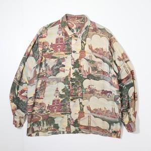 50's L/S Picture Pattern Hawaiian Shirts  50年代 アロハシャツ ピクチャー柄 A723