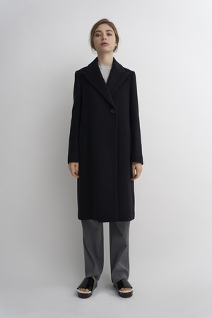 WOOL PEAKED LAPEL CHESTER COAT